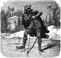 """The Norse god of hunting, Ull. He was the son of Sif, the patron goddess of wives and step-son of her husband Thor, the thunder god. His father is unknown. Ull was credited with inventing the bow and arrow, skis, skates and snow- shoes. As part of his role as a hunting god, heroes acting as monster slayers were considered """"servants of Ull""""."""