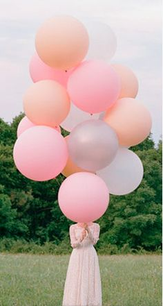 Balloons! White, Pink & Peach. Add Mint for our wedding.