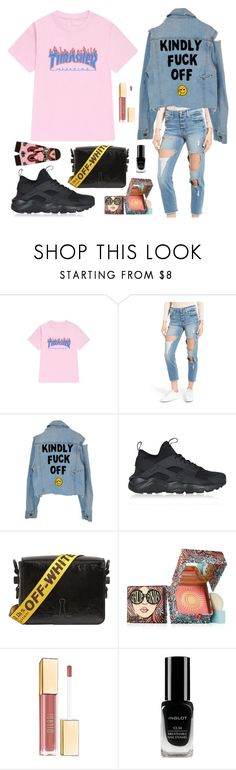 """D'Hype Boyish"" by andaasoeyatno ❤ liked on Polyvore featuring WithChic, Good American, NIKE, Off-White, Benefit, Milani, Inglot, Stance, supreme and hypebeast"