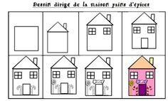 Mes petits ayant réalisé la maison de pain d'épices, les moyens aussi devaient en faire une. Premier dessin dirigé de l'année : celui de la maison de pain d'épices. Point par point, traits après traits, une maison est née Coloriage des fenêtres, porte...