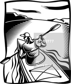 Royalty-free Illustration: black and white drawing of a woman kayaking…