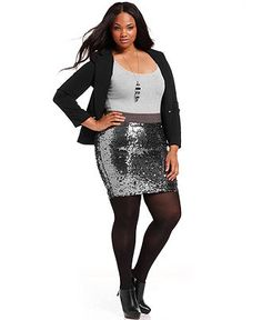 Baby Phat Plus Size Blazer & Sequin Pencil Skirt (although I wouldn't really call that a pencil skirt) #plus #size