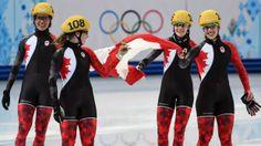 Sochi - Canada wins silver in women's 3,000-metre relay - Marie-Eve Drolet, Jessica Hewitt, Valerie Maltais and Marianne St-Gelais