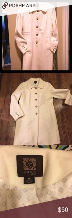 Anne Klein Pea Coat Jacket in Cream Beautiful, clean, with tortoise shell buttons. Ann Klein  Jackets & Coats
