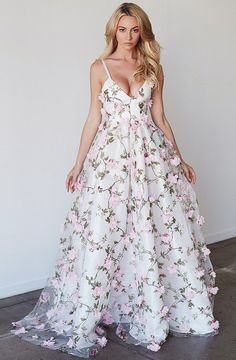 Beautiful prom dresses a-line spaghetti straps floral lace long prom dress white evening dress Floral Prom Dress Long, Floral Gown, A Line Prom Dresses, Tulle Prom Dress, Beautiful Prom Dresses, Flower Dresses, Pretty Dresses, Homecoming Dresses, Evening Dresses