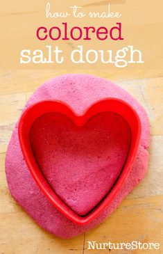 Homemade colored salt dough Valentine candle holders - NurtureStore How to make colored salt dough recipe - great sensory play recipe and for kids crafts Valentine Crafts For Kids, Crafts For Kids To Make, Mothers Day Crafts, Baby Crafts, Kids Crafts, Mummy Crafts, Valentines Art, Valentine Gifts, Salt Dough Projects