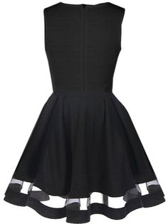 Peekaboo Twirl Dress | Black Mesh Illusion A-Line Party Dresses