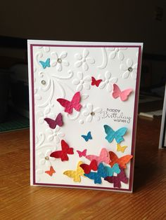 Stampin up card-love the bright colors on the white