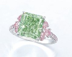 The 5.02 carat Fancy Intense Green diamond ring by Moussaieff that was  sold at Christie's Hong Kong