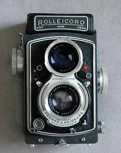 Vintage camera Rolleicord Va twin lens circa mid 1950s. $240.00, via Etsy.
