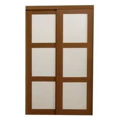 TRUporte 2310 Series 72 in. x 80 in. 3-Lite Tempered Frosted Glass Composite Cherry Interior Sliding Door-249297 at The Home Depot