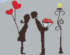 Counted Cross Stitch Pattern PDF Little couple kissing with love, Fabric Crafts, Wedding Cross Stitch, Cross Stitch Heart, Counted Cross Stitch Patterns, Embroidery Thread, Cross Stitch Embroidery, Embroidery Patterns, Pattern Pictures, Crafts For Boys, Grafik Design