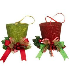 """RAZ Holly Top Hat Christmas Ornament Set of 2  2 Asst, set includes one of each style Red and Green Made of Paper Measures 3"""" RAZ Exclusive  Whimsical top hat ornaments in lime green and red."""