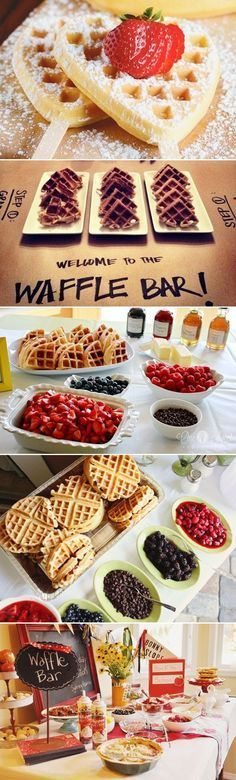 25 Fun Dessert Bar Alternatives That Will Get your Guests Involved - Waffle Bar! Great for a bridal shower brunch Birthday Brunch, Easter Brunch, Sunday Brunch, Birthday Parties, Birthday Breakfast, Waffles, Bar A Bonbon, Waffle Bar, Waffle Iron