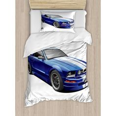 Ambesonne Teen Room Decor Duvet Cover Set Queen Size, American Auto Racing Car Sports Competition Speed Winner Boys Kids Graphic, Decorative 3 Piece Bedding Set with 2 Pillow Shams, Blue Grey. Single Duvet Cover, Duvet Cover Sets, Cars Bedroom Set, Marble Duvet Cover, Family Wall Decor, American Auto, Teen Room Decor, Pillow Set, Pillow Shams