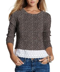 Gray & Tan Adeline Sweater #zulily *cute