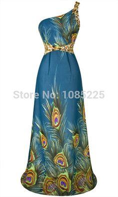 70226bc50bf6b 2014 verão New Strapless pedrinhas pavão impresso Chiffon vestido de noite  azul Loja Online | aliexpress