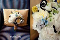 Craspedia, fiddleheads, anemone, give this feminine white bouquet a modern twist | Hotel Allegro, Downtown Chicago