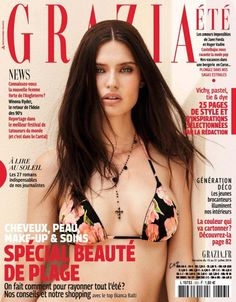 Bianca Balti Poses in Dolce & Gabbana Swimsuits for Grazia France July 2016 Cover