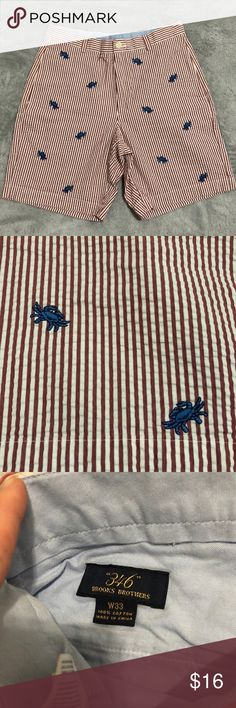 Men's Brooks Brothers shorts These are so preppy! Red striped seersucker material with blue crabs. Excellent condition. Inseam about 8 1/2in. Brooks Brothers Shorts