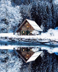 Architecture – Come Hideaway in Lake George, NY Winter Cabin, Cozy Cabin, Snow Cabin, Cosy Winter, Winter Snow, Fall Winter, Autumn, Ideas De Cabina, Cabin In The Woods