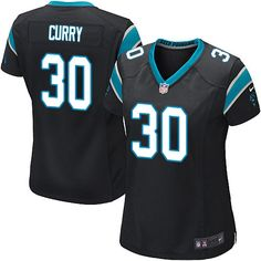 34f6a49a8 Women s Nike Carolina Panthers  30 Stephen Curry Game Black Team Color NFL  Jersey