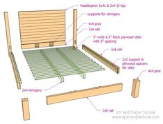 How to build a beautiful DIY bed frame & wood headboard easily. Free DIY bed plan & variations on king, queen & twin size bed, best natural wood finishes, and lots of helpful tips! - A Piece of Rainbow Bed Frame Bench, Bed Frame Plans, Full Bed Frame, King Size Bed Frame, Bed Frame And Headboard, Wood Headboard, Bed Plans, Wooden Bed Frames, Wood Beds