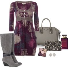 Plum, grey and sparkles. Fall / winter outfit.
