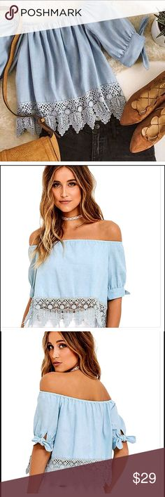 NWT Lace Off-shoulder Casual Blouse Crop Top Fashion Summer Women Ladies Lace Off-shoulder Casual Blouse Crop Top.     item measurements to determine which size you should purchase.  PLEASE SEE SIZE MEASUREMENT FOR BEST FIT.......S: Bust: 35.4in, Length: 17.7in, Sleeve: 7.9in.  M: Bust: 37in, Length: 18.1in, Sleeve: 8.3in. L: Bust: 38.6in, Length: 18.5in, Sleeve: 8.7in.  NWT!! Feel Free Tops