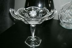 Antique American Brilliant Daisy Cut Glass & Pressed Compote Stand Dish Bowl