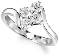 4 stone diamond cluster ring, with elegant diamond cluster featuring round brilliant diamonds of equal size above crossover shoulders. Round Diamond Ring, Diamond Cluster Ring, Modern Engagement Rings, Diamond Engagement Rings, Diamond Ring Settings, 4 Diamonds, Cute Rings, Stone Rings, Ring Designs