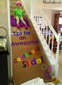 Indoor cardboard slide - create a slide on your stairs with cardboard.