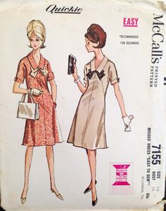 "Vintage 1960s McCall's Misses' Dress Pattern 7155 Size 14 (34"" Bust)"