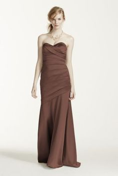 A structured refined look that exudes pure elegance!  Strapless bodice with sweetheart neckline features ultra-feminine body con fit with structured pleating.  Long stretch satin trumpet skirt is chic and finishes off the look.  Lined through the hip. Back zip. Imported polyester. Dry clean only.  Also available in Extra Length as Style 4XLF15586.  To protect your dress, try our Non Woven Garment Bag.