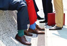 Colorful socks, red pants, menswear