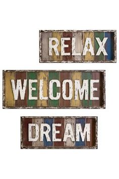 Bingham Dream-Relax-Welcome Wall Decor - Set of 3