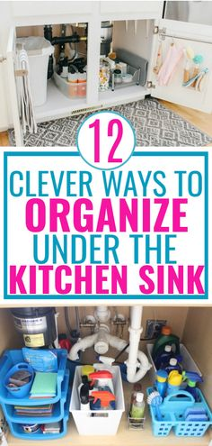 DIY ideas to help you organize cleaning products, and create more space under the kitchen sink. Has the cabinet under your kitchen sink become a wasteland of cleaning products? Here are 12 space-saving ideas for under the kitchen sink organization. Under Kitchen Sink Organization, Under Kitchen Sinks, Under Sink Storage, Diy Kitchen Storage, Organize Under Sink, Under Sink Organization Bathroom, Under Bathroom Sinks, Bathroom Sink Storage, Kitchen Sink Diy