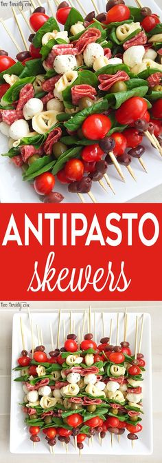 Antipasto Skewers Antipasto skewers = easiest appetizer EVER. Currently I& Skewers Antipasto skewers: easy to make and perfect for any occasion. These antipasto skewers are excellent appetizers for parties, picnics, and more!Eat Stop Eat To Loss Weight - Skewer Recipes, Appetizer Recipes, Appetizer Skewers, Fruit Skewers, Appetizer Ideas, Kebabs, Party Food On Skewers, Shrimp Recipes, Dessert Skewers