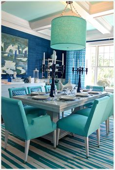 2012 Hampton Designer Showhouse | Turquoise Aqua Dining Room | Jonathan Adler Fabric Chairs