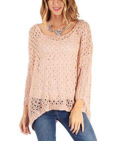 This Dusty Pink Loose-Knit Dolman Sweater is perfect! #zulilyfinds