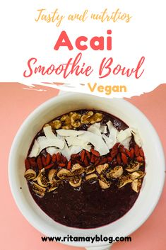 Tasty and nutritious vegan acai smoothie bowl Acai Smoothie, Smoothie Bowl, Fruit Smoothies, Smoothie Recipes, Vegan Brunch Recipes, Best Vegan Recipes, Whole Food Recipes, Healthy Recipes, Vegan Breakfast
