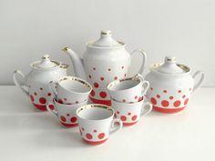 Red and White Polka Dot Coffee Set  Soviet vintage by OldTimeGoods, $48.00