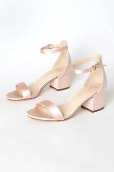 Say hello to your new favorite shoe.the Lulus Harper Blush Satin Ankle Strap Heels! Single sole sandals with a peep-toe upper, heel cup, and ankle strap. Wedding Shoes Block Heel, Blush Wedding Shoes, Wedding Heels, Flat Wedding Shoes, Cute Shoes, Me Too Shoes, Red Shoes, Homecoming Shoes, Blush Heels