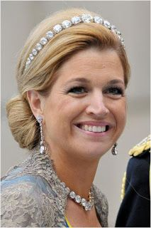 Queen Maxima of the Netherlands wearing a rose cut diamond bandeau