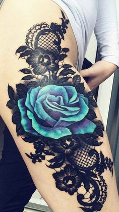 Watercolor Flower Thigh Tattoo Ideas for Women at MyBodiArt.com - Blue Floral Rose Black Lace Tat #tattooinfo #TattooIdeasForWomen
