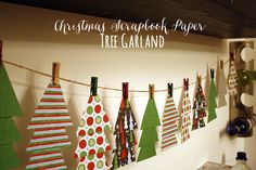 An easy Christmas scrapbook paper tree garland - spruce up your home with this easy Christmas DIY craft tutorial. Christmas Scrapbook Paper, Christmas Paper Crafts, Christmas Projects, Holiday Crafts, Scrapbook Paper Crafts, Diy Christmas Tree Garland, Office Christmas Decorations, Christmas Diy, Diy Girlande