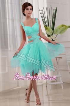 A-Line Knee-length Straps Organza Beaded Prom Dress Baby Blue