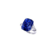 Engagement Rings –  Graff cushion cut sapphire ring, price upon request