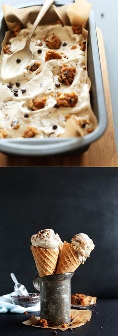A MEGA creamy ice cream loaded with peanut butter chocolate chip cookie dough! So creamy, decadent easy to make! Protein Packed Snacks, Healthy Protein Snacks, Vegan Snacks, Vegan Sweets, Vegan Desserts, Vegan Ice Cream, Chocolate Chip Cookie Dough, Frozen Desserts, Ice Cream Recipes