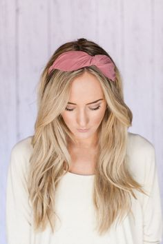 PINK Fabric Bow Hair Band Chunky HeadBand with by ThreeBirdNest, $22.99